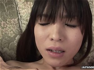black-haired asian babe in a tabouret plaything poked