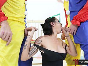 Dana Vespoli ravaged by creepy ample man sausage clowns